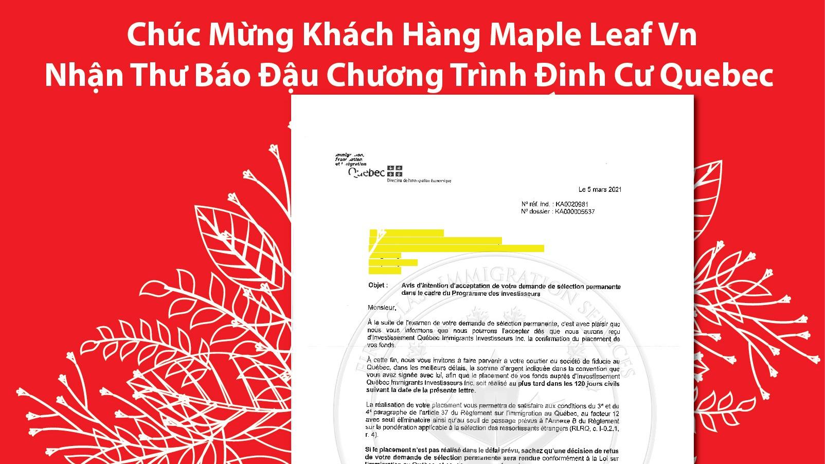 chuc-mung-khach-hang-maple-leaf-vn-nhan-thu-bao-dau-chuong-trinh-dinh-cu-quebec