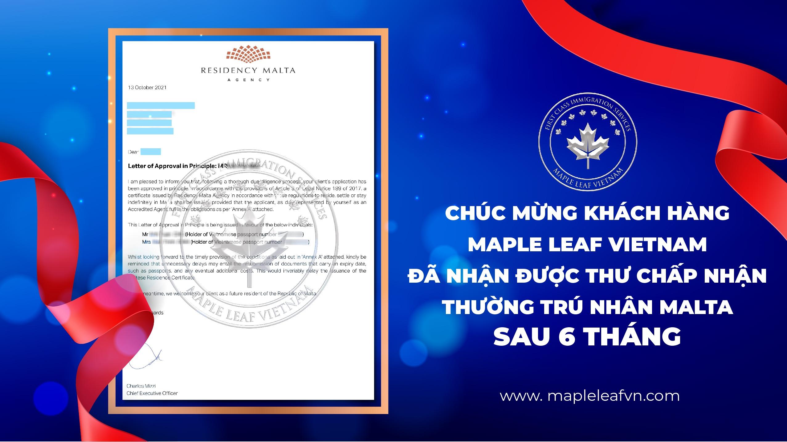 chuc-mung-khach-hang-maple-leaf-vietnam-da-nhan-duoc-thu-chap-nhan-thuong-tru-nhan-malta-sau-6-thang